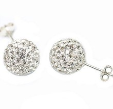 New!12mm White  Crystal Micro Pave Disco Ball Silver Plated shamballa earrings studs women Gift wholesale