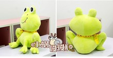 cute Squating plush cartoon frogs toy creative bow frog doll about 40cm green
