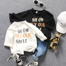 only t shirt 1pc new 2018 spring boys letter O neck irregular t shirt boys long sleeve fashion style t shirt(China)