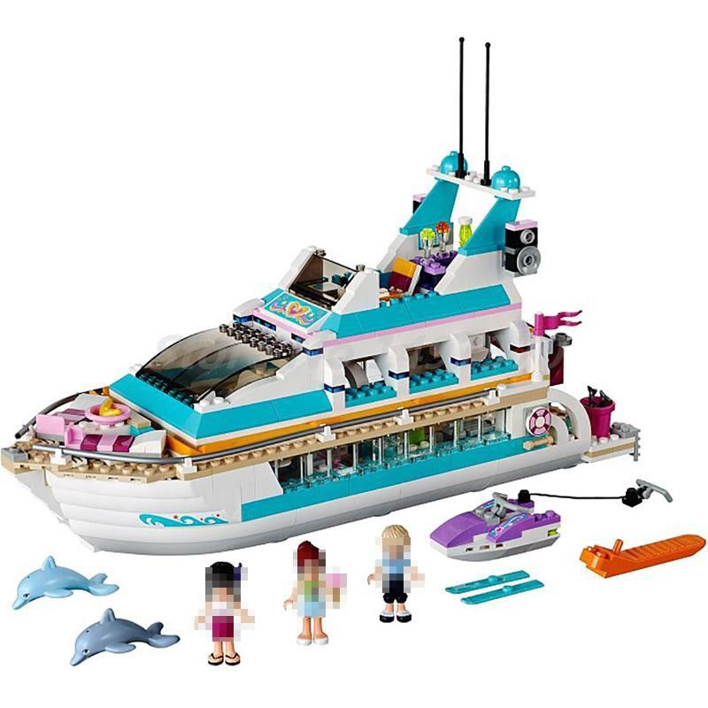 Bela 10172 Friends Series Girl Dolphin Cruiser Large Yacht Club Cruise Vessel Ship 41015 Building Blocks Brick Toys For Children<br>
