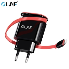 Olaf 5V 3A 2-Port Travel USB Charger With Cable Adapter Portable EU Plug Mobile Phone Charger for iPhone 7 For Samsung s6 s7(China)