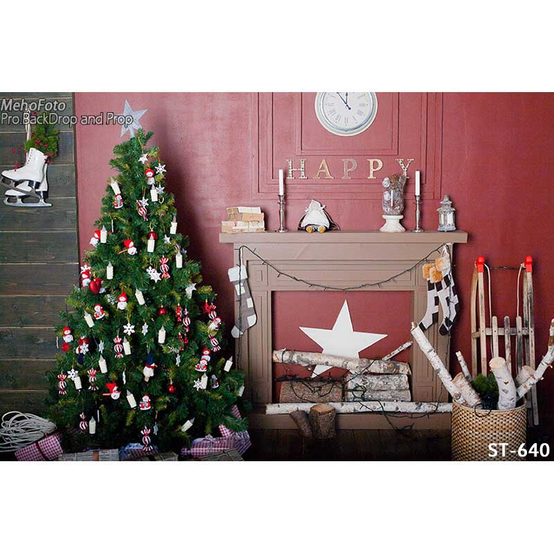 Horizontal vinyl print warm Christmas decoration room photography backdrop for photo studio portrait backgrounds ST-640<br>