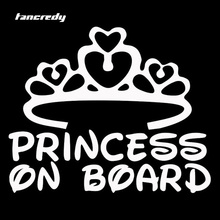 Princess On Board Stickers Baby Girl Name Customize Car Styling Stickers 17*14cm Car Stickers and Decals 0386(China)