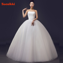 Custom Made Wedding Dresses 2017 Cheap Celebrity Strapless White Tulle Bridal Ball Gown Lace Bridal Gown Casamento(China)