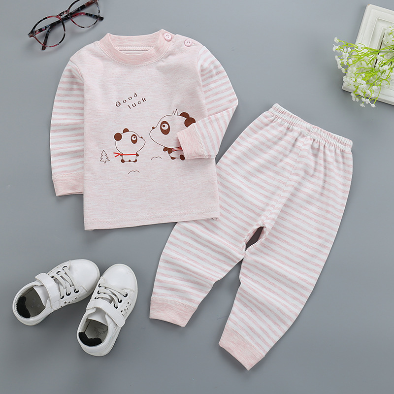 Cartoon stripe Long sleeve pullover cotton Babys Sets hot selling <br>