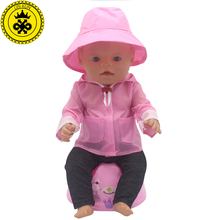 Pink Raincoat + Hat  Suit Dress Doll Clothes fit 43cm Baby Born Zapf Doll Clothes and 17 inch Doll Accessories Handmade 501