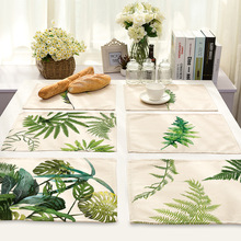 Mix 7 Style Leaves Table Napkins Plates Printed Linen Cloth Dinner Table Deco Accessories Wedding Party Napkins Wholesale Price