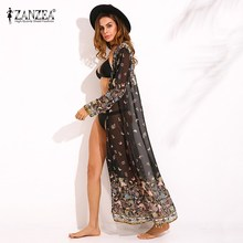 ZANZEA Womens Chiffon Long Sleeve Floral Print Kimono Boho Ladies Summer Beach Cover Ups Maxi Long Tops Jacket Cardigans 2017