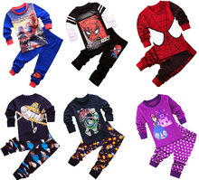 2017 Spiderman Batman Superman Kids Clothes Baby Boys Long Sleeve Cotton Pajamas PJS Childrens Sleepwear Pyjamas Pijamas Sets