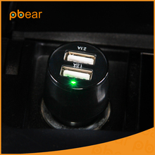 Pbear Universal Dual USB Car Charger Adapter Intelligent management chip With LED Light Car-Charger For electronic equipment