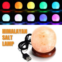USB Round Salt Lamp Air Purifier Crystal Night Light Wooden Base Colorful Table Desk Light Bedside Home Decoration(China)