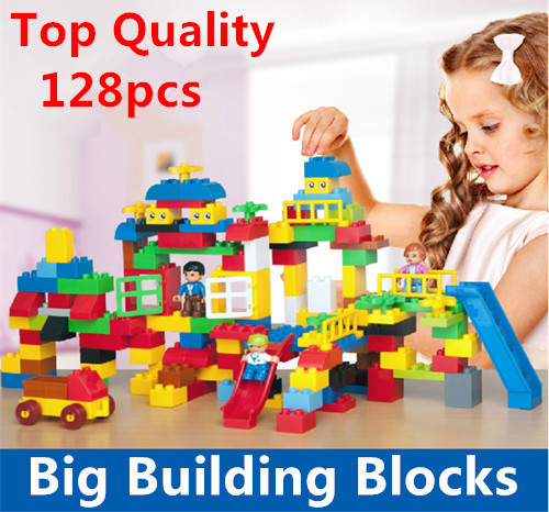 High Quality Big Building Blocks Self-Locking Bricks Rainbow Color Baby First Blocks Toys Compatible <br><br>Aliexpress