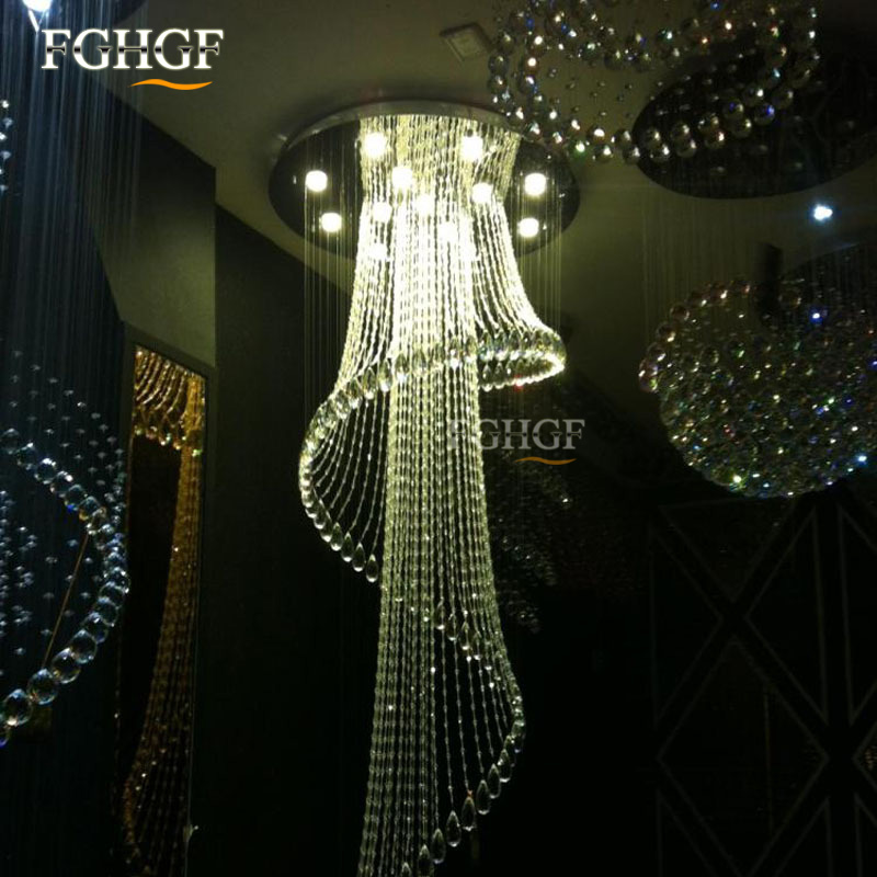 Modern Crystal Chandelier Large Size Crystal Chandeliers Spiral Lamp Long Stair Lustres Lighting Fixture for Foyer Hotel Villa (3)