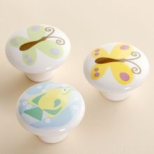 38mm butterfly fish painted Ceramic Knobs Kids Bedroom Kitchen Door Cabinet Cupboard Knob Pull Drawers Handle