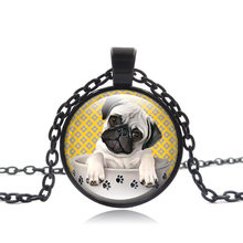 Pug Dog Pendant Necklace Pug in a Tea Cup Art Glass Cabochon picture Statement Jewelry Silver Chain Necklace Women Gift