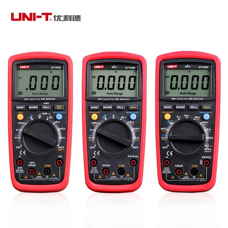 UNI-T UT139A  UT139B UT139C True RMS digital multimeter with auto range AC/DC Amp/Volts Ohm Tester Multimetro On Sale<br>