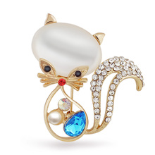 Lovely Cat Opals Tear Drop Rhinestone Crystal Faux Pearl Brooches Pins Brooch for Women Z001_1
