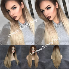 2016 Long Silky Straight Natural Hair Synthetic Lace Front Wig Brown/Blonde Omber Hair Heat Resistant 180% density Free Shipping