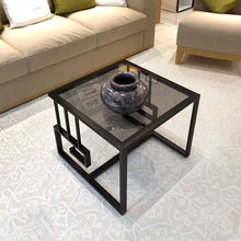 Living Room Modern Small Assemble Tea Table Sofa Side Cabinet Table Corner Small Glass Side Table