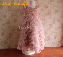Retail !  Pink Rosette sleeveless Baby Girls floral summer ball gowns wedding dress Kids Flower summer party dress[dejorchicoco]