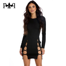 Long Sleeve Woman Dress Sexy Club Wear Side Slit Bandage Bodycon Dresses Women Hollow Out Evening Party Dress Black Robe Femme