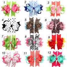 12pcs Princess Girls School Hair Bows Lined Single Prong Clips Ribbon Loops Bows Polka Dots,Zebra,Leopard Pattern 12*10cm