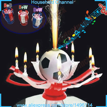 2016 4pcs Beautiful Rotatable Football Birthday Candle Musical Blossom Lotus Flower Trophy candle gift wholesale festival candle