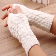 1 Pair Fashion Women Warm Soft Gloves Lady Winter Autumn Arm Warmer Twist Long Fingerless Knit Mitten Practical Casual Gloves(China)