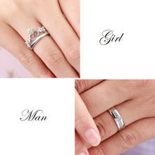 My Prince Princess Queen Silver Couple Rings Wedding Band His Her Promise Ring