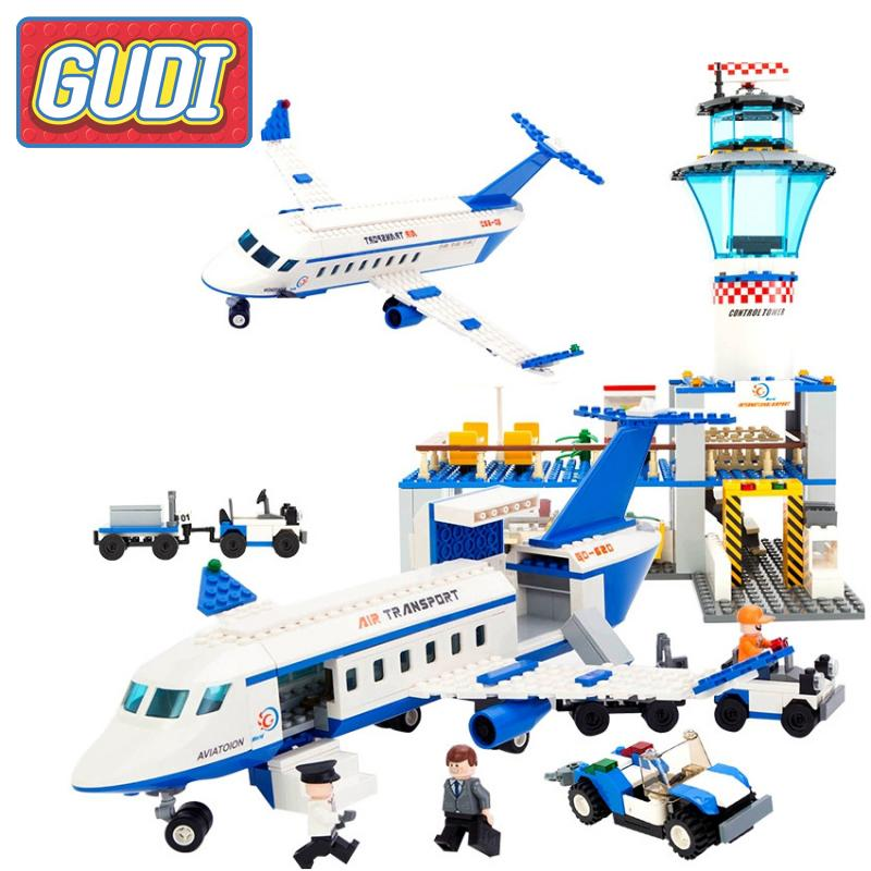 GUDI International Airport Blocks Aviation Series Building Bricks Kits Assembled Educational Toys 2017 Children Action Gifts<br>