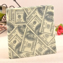 New Personalized dollar Paper Napkin Festive & Party Tissue Napkins Decoupage Decoration Paper 33cm*33cm 20pcs/pack/lot(China)