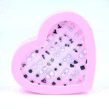 New Design 36pairs mix design black and white elements stud earrings women cute earrings set for kids with heart box