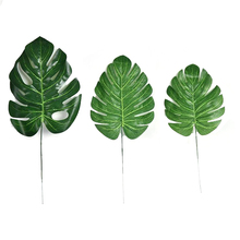 1Piece Artificial fake Monstera palm Leaves leaf-shaped green plants wedding DIY decoration cheap Flowers arrangement plant leaf
