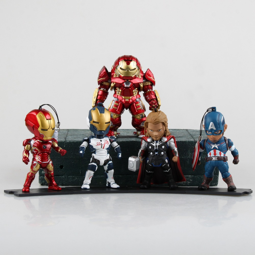 KIDS NATIONS Avengers Age of Ultron Hulk Buster Iron Man Thor Captain America Q version Action Figures 5pcs/set KB0383<br><br>Aliexpress