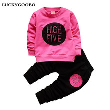 Girls Clothing Sets 2017 NEW Kids Clothes Letter picture  Girls sweet Pullover chilrden  Cotton Spring Baby Girl Clothes 2 Piece