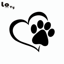 Cute Dog Paw with Peach Heart Car Sticker Cartoon Animal Adopt Dog Cat Love Pet Car Decal(China)