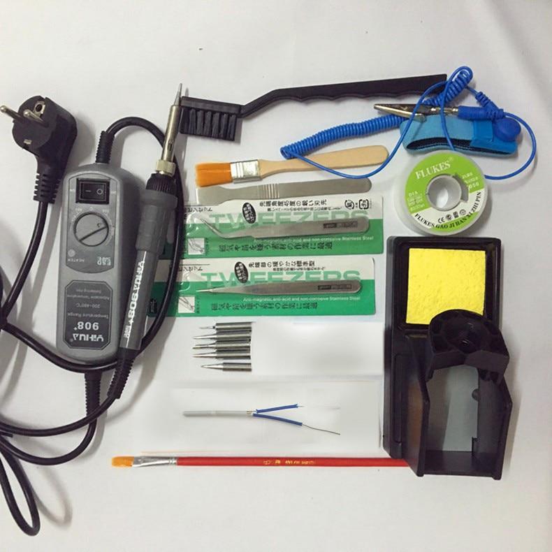 YIHUA SOLDERING STATION 65W 908+electric iron soldering station thermostat Pocket mini iron soldering 110V/220V EU/US Plug<br>