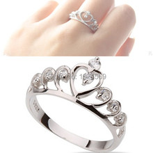 New Fashion Heart Crown Queen Silver Plated Inlay Zircon Crystal Ring Jewelry Size 7
