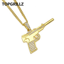 TOPGRILLZ Crystal Gold Color Plated Mini Pistol  Personality Trend Hip Hop Rock Pendant Necklace