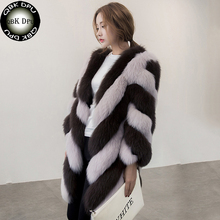 QBKDPU 2017 new Women Clothes Fox Fur Coat Nine Quarter Sleeve Winter Women High Imitation stripe Faux Fur Coat Jacket Fur Coat(China)