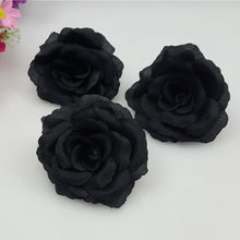 Popular silk black flowers buy cheap silk black flowers lots from 10pcslot 17colors 8cm black artificial rose silk flower heads decorative flowers for wedding party mightylinksfo