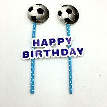 1SET/LOT FOOTBALL CAKE DECORATION FOOTBALL CAKE FLAG KIDS BIRTHDAY PARTY SUPPLIES FOOTBALL CAKE PICKER FLAG