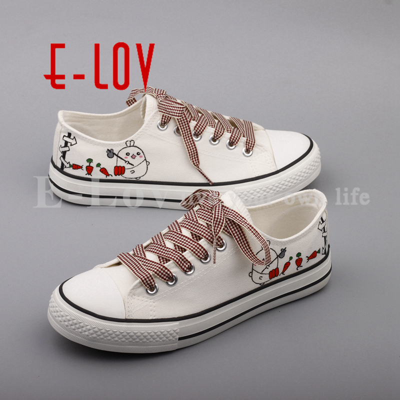 E-LOV Fashion Women Shoes Hand Painted Casual Flats Graffiti Cartoon Animals Canvas Shoe Womens Espadrilles zapatillas mujer<br>