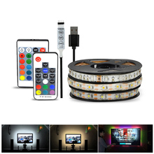 2835 SMD DC 5V USB charger adapter USB Cable LED strip light Tape LED lamp RF IR RGB remote control String bulb 1M 2M 3M 4M 5M(China)