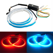 new coming dual color flow type drl on Trunk box with Side Rear lights LEDs Strips Car Braking light Turn Signal Light(China)