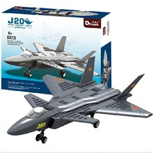 DR.Luck JX003 1:50 J20 Heavy Stealth Fighter building block 290pcs Army Military helicopter brick toys for 2015 Christmas(China)