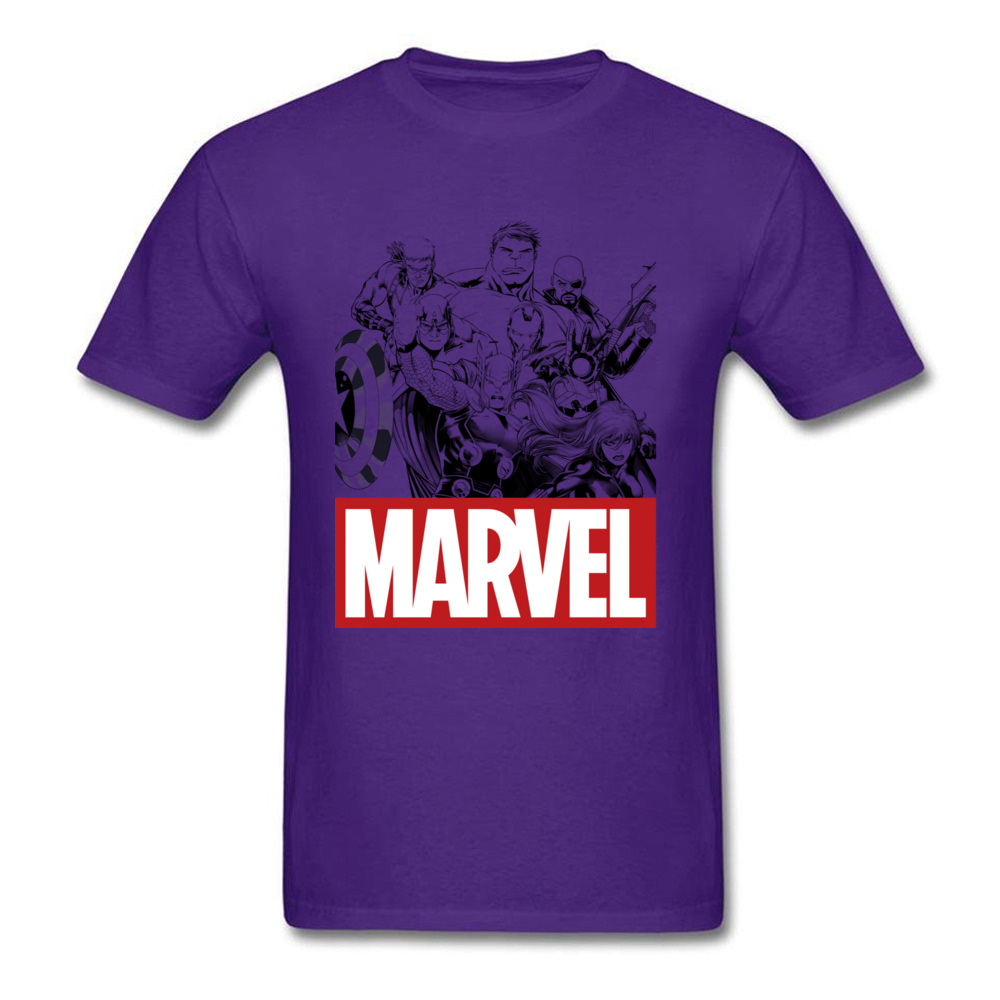 Newest Male Top T-shirts Crew Neck Short Sleeve 100% Cotton Star Wars Marvel Heroes Logo Tops & Tees Print Tops & Tees Marvel Heroes Logo purple