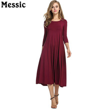 Messic Casual Plus Size 3XL Midi Long Dress Women 2017 Spring Autumn 3/4 Sleeve Robe Femme Round Neck A Line Ladies Dresses(China)
