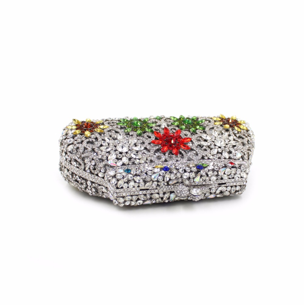 New Women Luxury Flower Crystal Clutch Evening Bag Ladies Gold Wedding Purses Dinner Party Clutches