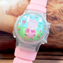 Big Value Small Order 10 Pieces/Lot Pink Small Pig Water Ball Shape Children Watches LED Digital Kids Watch With Blinking Lights
